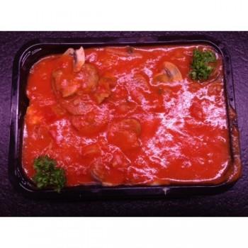 Langue de boeuf, purée, sauce tomate